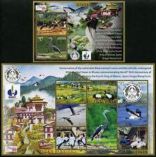 Bhutan 2015 Vögel Birds Kraniche Cranes Kormoran Heron Wasservögel MNH
