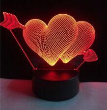 Lámpara led 3D. Dos corazones