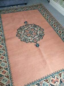 "Authentic XLarge Handmade MOROCCAN/Berber Medallion Coral & Blue Rug. 8'2""x5'9""."