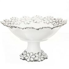 VIVA Dekoschale mit Fuß 23 cm Teller Schale Blumen silber weiß Keramik