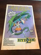 "1989 VINTAGE 6.5x10 COMIC PRINT AD FOR NES NINTENDO RPG VIDEO GAME ""HYDLIDE"""