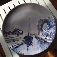 Vintage Delft Large Winter Scene Charger Plate signed N L Apol