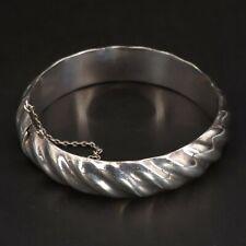 """Vtg Sterling Silver - Modern Striped Solid 7.25"""" Hinge Bangle Bracelet - 23g"""