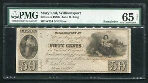 1840's 50 CENTS JOHN H. KING WILLIAMSPORT, MD OBSOLETE NOTE PMG UNC-65EPQ (G)
