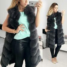 New Woman Extra 90cm Long Luxury Natural Real Fox Fur Jacket vest M-XXL size