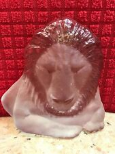 SATIN FROSTED GLASS LION FIGURINE PAPERWEIGHT HANDMADE BY VIKING