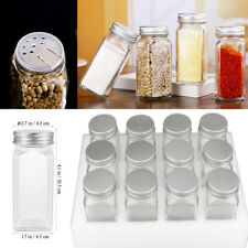 12Pcs Glass Spice Jars Empty Seasonings Bottles Salt Container with Lid Square