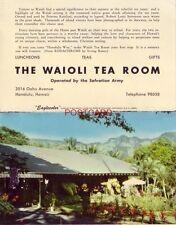 HAWAII's SALVATION ARMY GIRLS' HOME IN HONOLULU operates THE WAIOLI TEA ROOM