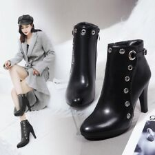 Punk Spike High Heels Ladies Ankle Boots Buckle Strap Autumn Casual Shoes Size