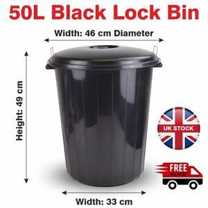 Lock Bin 50 Liter Rubbish Bin Black Colour Made with Recycle Plastic Dustbin Lid