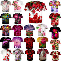 Beautiful Rose Flower 3D print women's/men's Short Sleeve T-Shirt Casual Tops