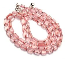 """Natural Gem Rose Quartz 8x6 to 11x7mm Size Faceted Nugget Beads Necklace 17"""""""
