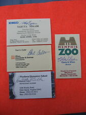 4 Autographed Business Cards: Guaranteed Authentic Original Hand Signed