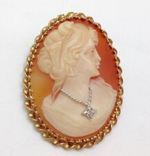 Large Antique Carnelian Shell Cameo & Diamond 14k Yellow Gold Brooch Pendant