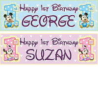2x 1st personalized birthday banner minnie mickey mouse children party posters