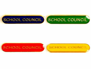 School Council Enamel Bar Badges - Free P&P 4 colours Red Blue Green Yellow