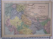 1891 ANTIQUE MAP ~ INDIA & HINDUSTAN BENGAL CALCUTTA NEPAL OUDH BOMBAY NEPAL
