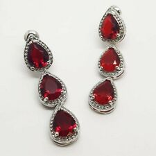 White gold finish pear cut red ruby and created diamond droplet earrings