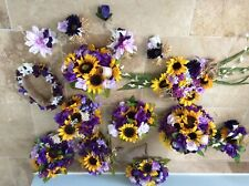 Wedding flowers bridal bouquets sunflowers purple bridal decorations 8 bouquets