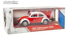 GREENLIGHT 1:18 SCALE DIECAST METAL RED & WHITE 1967 VOLKSWAGEN BEETLE
