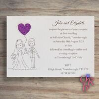 10 Wedding Invitations Evening Invites Personalised Handmade *40 colour choices*