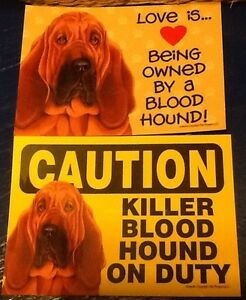 2 Blood Hound Love/Caution Laminated Picture Sign / magnet