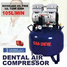 Portable Dental Air Compressor Oil Free Mute Tank 32l Silent Noiseless 850w 110v