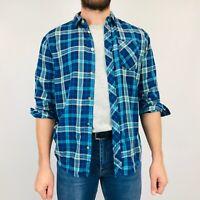 Vintage Flannel Shirt Men's Large Blue Check Plaid Long Sleeve