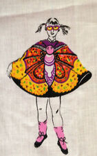 """VTG MANES PSYCHEDELIC BUTTERFLY GIRLS HALLOWEEN COSTUME FABRIC PANEL 36"""" X 46"""""""