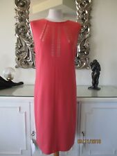 MARC CAIN Coral Wool Cashmere Zip Back Dress with Gold Studs N5 16 BNWT €389