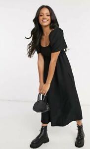 ASOS midi scoop neck smock dress in black Size 10