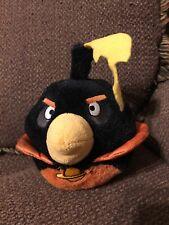 """rovio angry birds black space bird head plush 6"""" tall"""