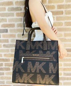 Michael Kors Kenly Large Tote Satchel Bag Brown Graphic Logo MK Black Multi
