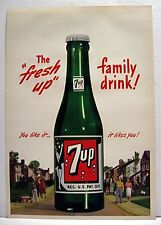 1948 7up The Fresh Up Family Drink Soda Pop Bottle Sign