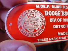 Dodge Brothers Firewall data plate acid etched aluminum 1930s - 1950s