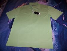 NEW NWT $45 GREG NORMAN Golf Polo Rugby Button Shirt Lime Green Sz L Microfiber