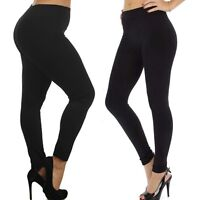 Womens Fleece Leggings Brushed Lined Thermal Pants Plus Size Black Winter New