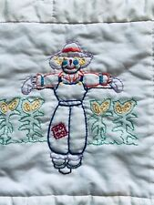 New listing Vintage Quilt for Baby - Farm Embroidery Saw Tooth Edging