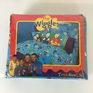 The Wiggles Kids Twin Sheet Set Cotton Poly Blend Blue Print New Sealed