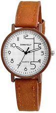 Donna Kelly braune Armbanduhr analoge Pu Leder Damenuhr Quartz Neu