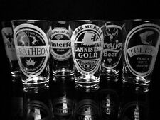 Game of Thrones House Pint Glasses ~Complete Set of 7 Pint Glasses~