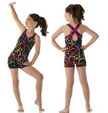 Neon Lights Dance Costume Biketard Baton Tap Gymnastic Adult X-Large New