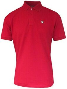 Fila Mens Retro Tipped Polo Shirt Casual S-S Vintage T-Shirt Tee Top XL,RED