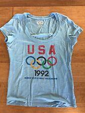 USOC 1992 Barcelona Olympic Games USA Tee Shirt Lt Blue Ladies Scoop Neck Med