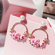 Elegant Women Flower Round Drop Earrings Simulation-Pearl Party Jewelry Gift