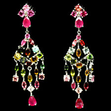 NATURAL FANCY COLOR TOURMALINE & PINK RUBY EARRINGS 925 STERLING SILVER