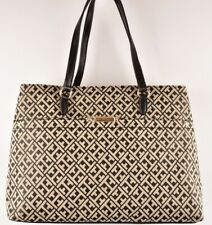 TOMMY HILFIGER Monogram Fabric Tote Bag, Black/Natural