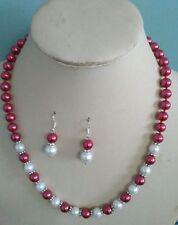 8MM Wine /White South Sea Shell Pearl necklace earrings set AAA Grade
