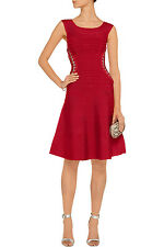 """NWT Lipstick Red Authentic Herve Leger """"Alyse"""" S Off Shoulder Dress - $1,640"""
