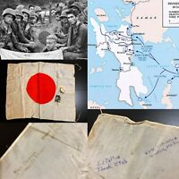 WWII 24th Infantry Division Army Signed Japanese Battle of Leyte Silk Relic Lot
